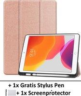 Smart Cover Book Case Hoes Voor Apple iPad 10,2 Inch (2019) - Tri-Fold Multi-Stand Flip Sleeve - Beschermhoes Met Screen Protector & Stylus Pen - Roze Goud