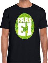 Zwart Paas t-shirt met groen paasei - Pasen shirt voor heren - Pasen kleding 2XL