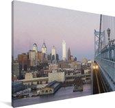 De zonsondergang bij Philadelphia Canvas 180x120 cm - Foto print op Canvas schilderij (Wanddecoratie woonkamer / slaapkamer) XXL / Groot formaat!