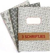 Schriften Bloemen Grijstinten - 3 stuks A5 Gelijnd