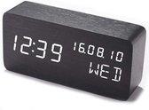 JAP Clocks AC149 digitale wekker - Houten alarmklok - Datum dag en tijd - Zwart