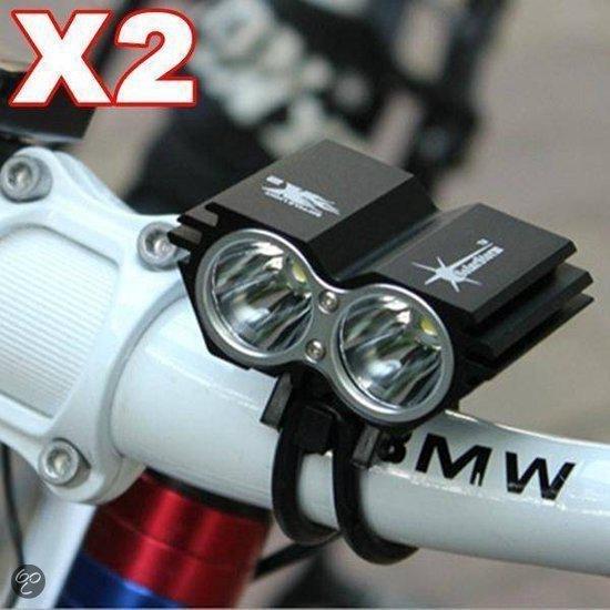 Solarstorm X2 - Koplamp - Led -  2 cree T6 2000 Lumen - Incl. batterij - Zwart
