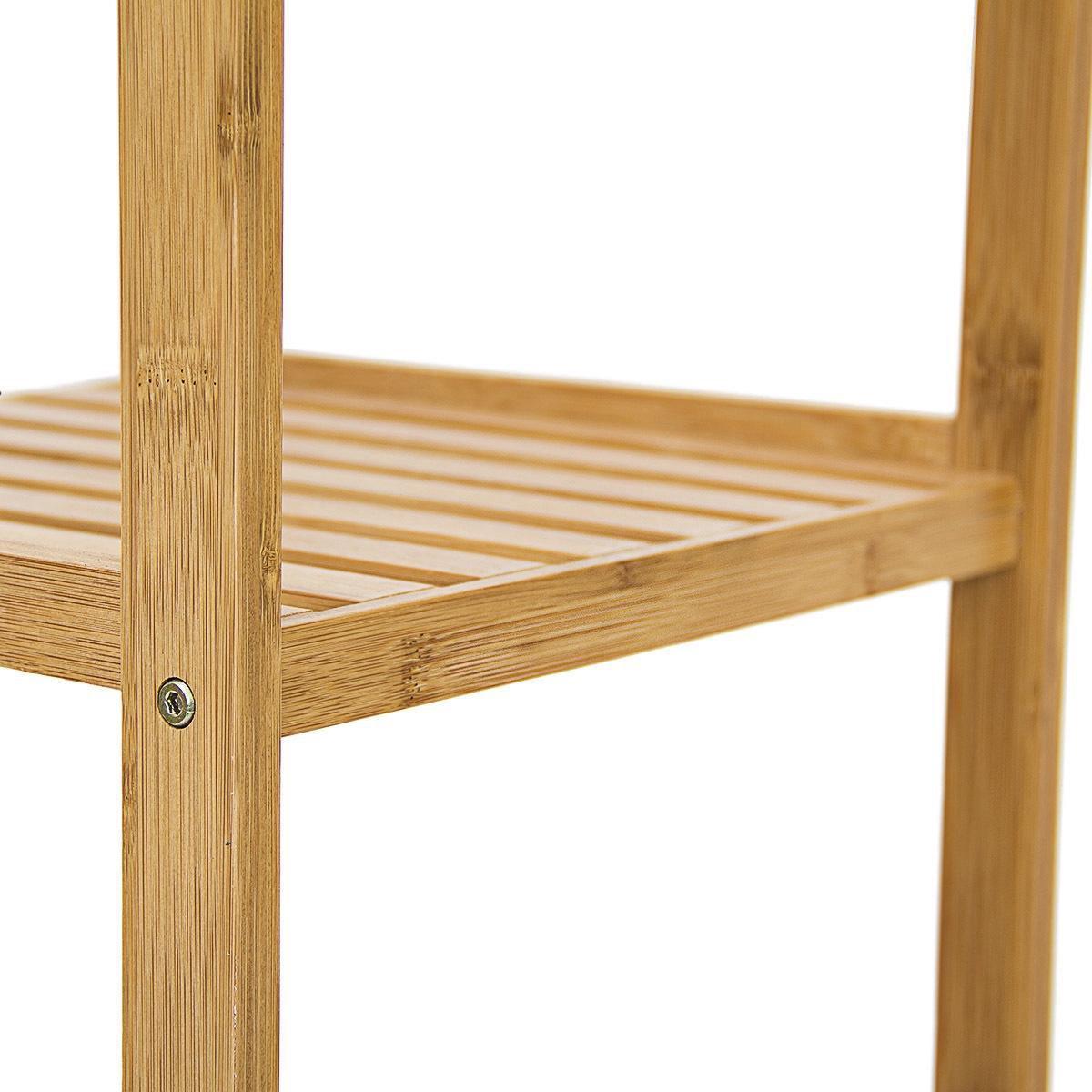 Relaxdays Badkamerkast Bamboe Hout Stellingkast 4 Planken Badkamer Open Kast Meubel Bol Com