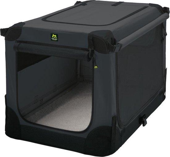 Maelson Soft Kennel - Robuuste hondenbench van zacht materiaal - Opvouwbare kennel met stevig stalen binnenframe - Zwart/antraciet - XXS / XS / S / M / L / XL / XXL - 72 S