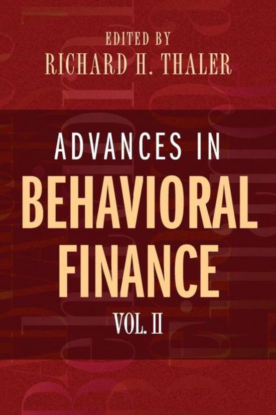 Boek cover Advances in Behavioral Finance, Volume II van Richard H Thaler (Paperback)