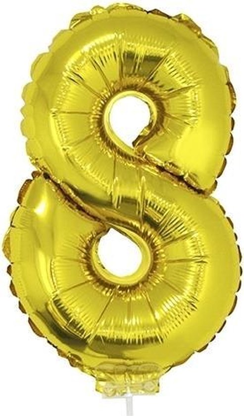Gouden opblaas cijfer ballon 8 op stokje 41 cm