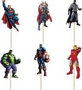 Cupcake Toppers Superhelden Avengers | Taartversiering | Cocktailprikkers | 24 Stuks