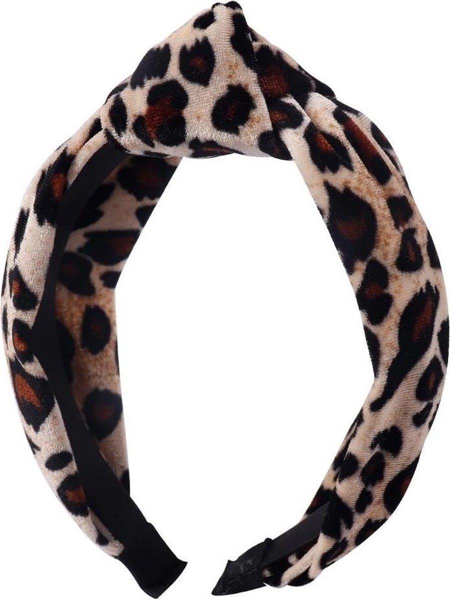 Velvet haarband/diadeem met panter print, bruin - Keer
