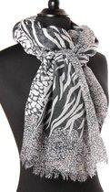 Dames sjaal - polyester - luipaard - leopard - panter - zebra - donker grijsblauw - 70 x 190 cm