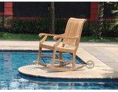 VKT Schommelstoel Teak Schommelstoel relax, L177x89xH93 cm, Hoogte rugleuning 110 cm, Breedte stoel incl. armleuning 58 cm, Diepte van de ronde delen onder 90 cm. Inclusief bevestigingsmaterialen en kussens