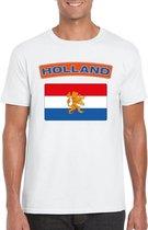 Nederland t-shirt met Nederlandse vlag wit heren 2XL
