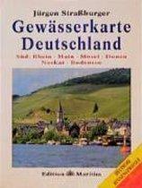 Gewässerkarte Deutschland Süd. Rhein, Main, Mosel, Donau, Neckar, Bodensee