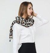 Lange warme luipaard panter leopard print dames sjaal in beige zwart bruin herfst winter - 90 x 180 cm