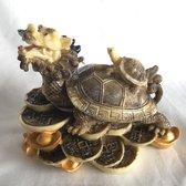 Feng Shui de draken-schildpad met baby (12.5x8.5x10cm) brengt acht soorten geluk, maar vooral rijkdom. Kleur:  Ivoor/bruin