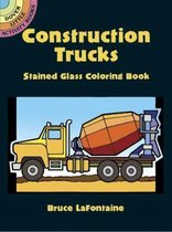 Construction Trucks Stained Glass Coloring Book