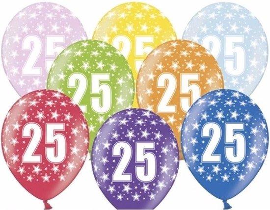 6x stuks feest ballonnen 25 jaar thema met sterretjes - Feestartikelen en versiering