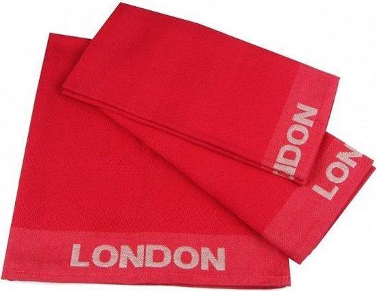 Jorzolino London Theedoek (6 Stuks) - 65x65 cm - Red