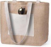 Jute/katoenen naturel strandtas 48 cm - Strandartikelen beach bags/shoppers