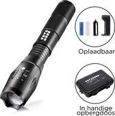 TravelMore Militaire LED Zaklamp Oplaadbaar - IPX-6 Waterresistent - 3800 Lumen - Zwart