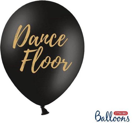 Ballonnen zwart Dance Floor goud 50 stuks