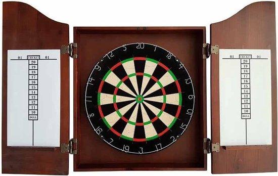 Dartkabinet - massief hout - met wedstrijd dartbord - dartpijlen en trainingsspel