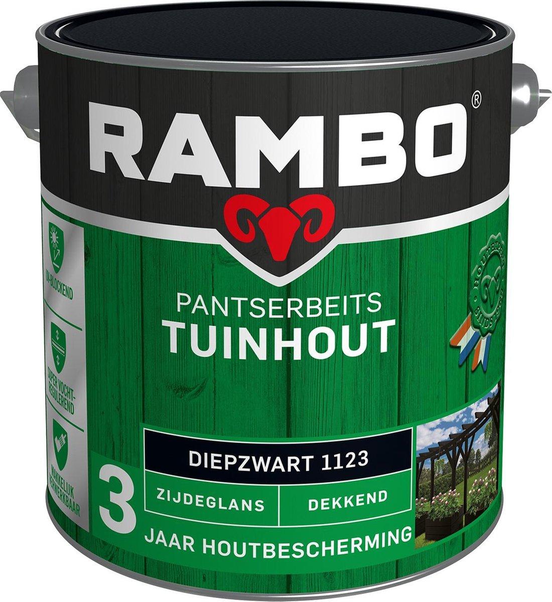 Rambo Tuinhout Pantserbeits Zijdeglans Dekkend - Diepzwart 1123 - 2,5 Liter