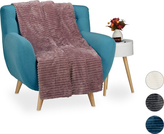 relaxdays knuffeldeken groot - woondeken - fleece deken - grand foulard - plaid - 150x200 Naturel - Relaxdays