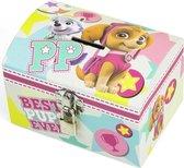 Paw Patrol mint/roze kinder spaarpot/geldkistje 14 x 10 cm - Speelgoed spaarvarkens voor meisjes