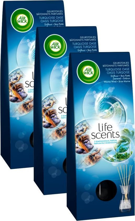 Air Wick Life scents Turqoise Oase Geurstokjes - 3x30ml