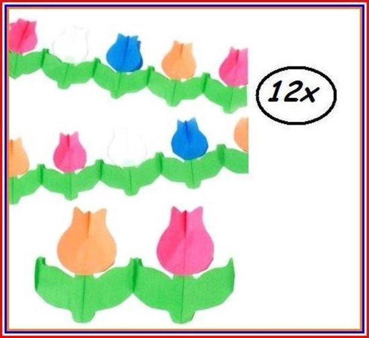 12x Bloemen Guirlande Tulp Hollands Glorie