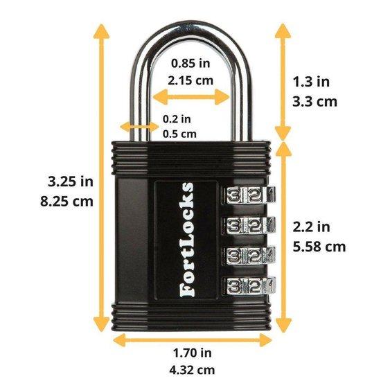 Fortlocks Cijferslot 4 Cijferig - Sterk Hangslot Met Cijfer Sluiting - Combinatie Code Padlock - Weerbestendig Buiten Slot - Fiets - Zwart - 4 Stuks - FortLocks