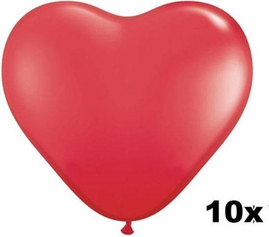 Hartjes ballonnen rood, 10 stuks, 28 cm