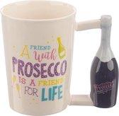 Mok met Prosecco fles als oor