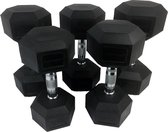 Tunturi Rubber Dumbbell Set - Dumbellset - 12-20 kg (5 sets - 12/14/16/18/20kg)