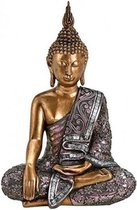 Boeddha beeldje goud/zilver 34 cm - Tuin decoratie/woonaccessoires Boeddha beelden