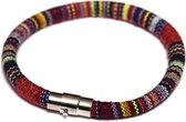 Stoffen armband met magneetsluiting - multicolour - Maat L