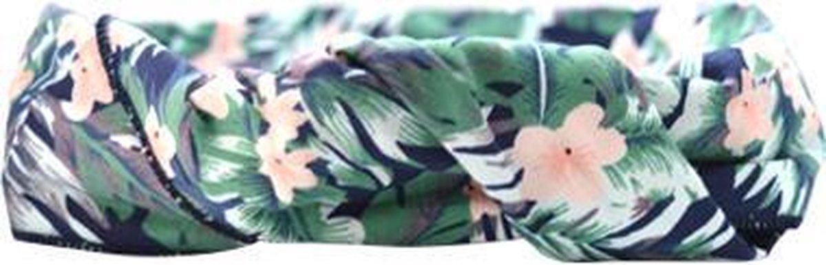 Haarbandje Bandeau Tropisch (dark) - Blauw, Groen, Roze en Wit - BandjesenKantjes
