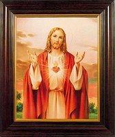 Heilig Hart Jezus in houten frame (8320SH)