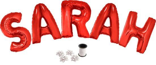 Folie ballonset rood met letters SARAH 102 cm + geschenklint 10m met 4 witte strikken