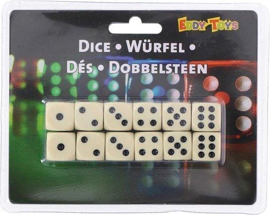 Thumbnail van een extra afbeelding van het spel 12x Dobbelstenen van 1,2 cm