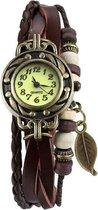 Fako® - Armband Horloge - Blad - Bruin