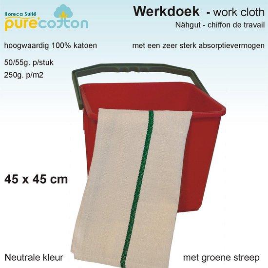 Homéé - Werkdoekjes ecru met groen band 100% Katoen | 12 stuks | 45x45cm