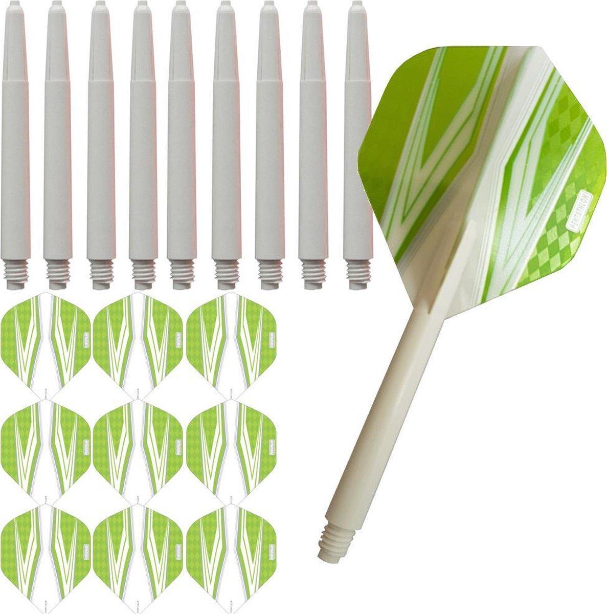 ABC Darts Flights Pentathlon - Dart flights en Medium Dart Shafts - Spitfire wit groen - 3 sets