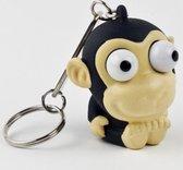 Leuk kado met naam sleutelhanger pop out  aap - zwart