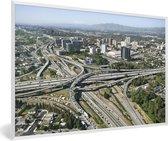 Foto in lijst - Luchtfoto van de wegen in San José fotolijst wit 60x40 cm - Poster in lijst (Wanddecoratie woonkamer / slaapkamer)