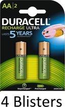 8 Stuks (4 Blisters a 2 st) Duracell AA Oplaadbare Batterijen - 2500 mAh