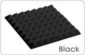 Akoestisch Studioschuim, Geluidsdemping panelen, Pyramid Tiles - 50 x 50 x 5 cm - Zwart