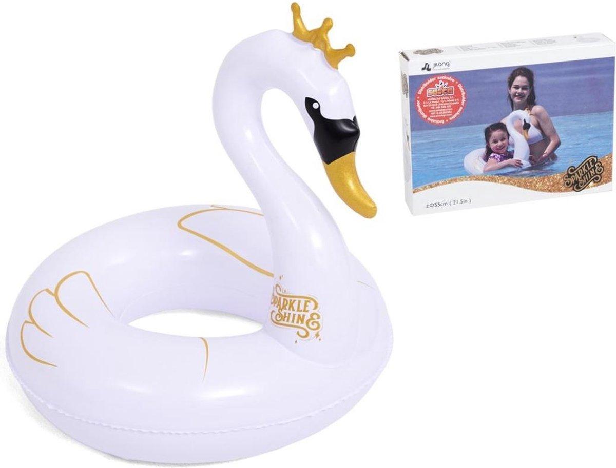 Jilong Zwemband Zwaan Junior 55 X 40 Cm Vinyl Wit/goud