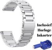 KELERINO. Metalen Schakel Bandje - Fitbit Versa 2 (Lite) - Met Inkorter - Zilver