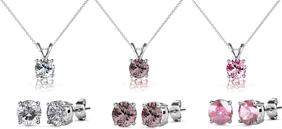 Yolora oorbellen met Swarovski kristal – zilver kleurig – geschenkset dames – Oorbellen - oorstekers en hanger set - YO-012 - Yolora